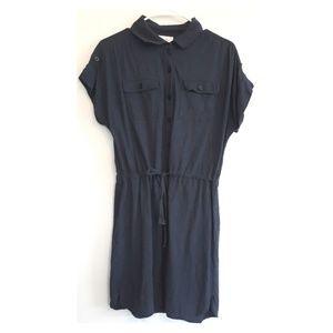 Loft gray pull waist button down dress